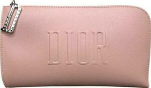 Christian DIOR Pink Zipper Eco Leather Pouch Cosmetic Bag NWOT
