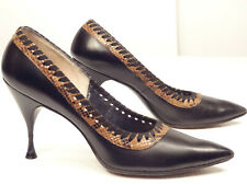 Chic Vtg 50s/60s Caprini Leather/Snakeskin-Trim Spike-Heel Pumps/Heels-7.5 N
