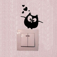 Cartoon Owl Switch Vinyl Sticker Owl Wall Stickers for Kids Room Home Decor ATAU