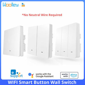 UK WiFi Smart Push Button Wall Switch No Neutral Required App Control eWeLink