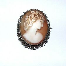 LARGE ANTIQUE VICTORIAN STERLING SILVER CARVED SHELL CAMEO BROOCH