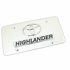 Toyota Logo + Highlander Name Badge On Polished Stainless Steel License Plate