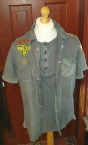 military style dark khaki short sleeve shirt size L