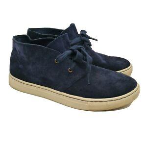 Polo Ralph Lauren Joplin Chukka Ankle Boots Navy Blue Leather Size 8 Mens