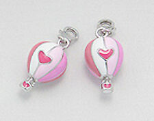 Sterling Silver Pink Enamel Hot Air Balloon Charm Bracelet Pendant Necklace