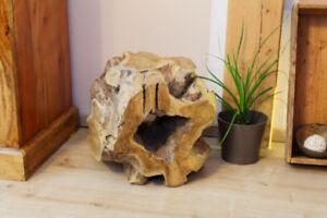 Teak Wood Dice Klotz Block Flower Stand Plant Stand Solid