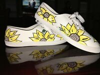 Tennis Shoes White Yellow Hand Painted Sun Flowers Decorative