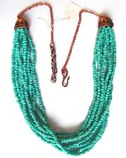 """8 strand turquoise seed bead bib necklace with copper findings, 24"""" - 27"""""""