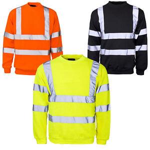 Mens Hi-Viz Vis Crew Safety Fleece Crew Neck Sweatshirt Visibility Security Top