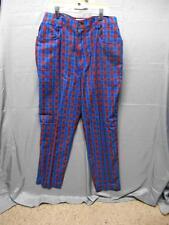 """Essentials Sport cotton red blue plaid pants 31"""" x 26 ½"""" women's size 12"""