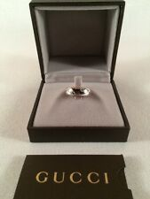 GUCCI 18K Solid White Gold Icon Ring Band US Size 6