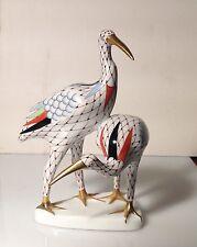 Hungarian Porcelain Hollohaza Fishnet Pair Of Cranes Figurine