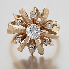 1950's Dimensional Vintage 14k Gold And Diamond Neutron Ring 3/4 Carats Unique