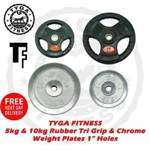 """TYGA Fitness 1"""" Tri Grip Rubber & Chrome Weight Plates Cast Iron Dumbbell Gym"""
