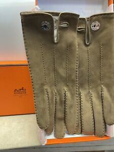 HERMES Brown suede gloves 7.5. new in box