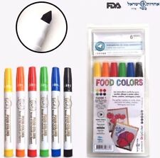 Food Colors Edible Markers Conic Tip Thick/Thin -6 PACK- Bright Colors KOSHER