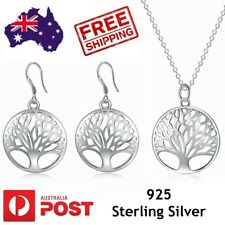Tree of Life Necklace Earrings Set 925 Sterling Silver Pendant Charm Jewellery