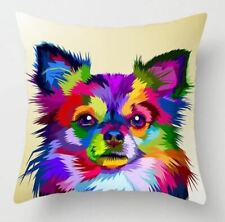 chihuahua dog puppy  cushion cover pop art Psychedelic Rainbow colours