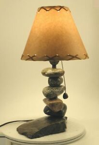 Stone Night stand Rustic Lamp 128 fits most rustic decors