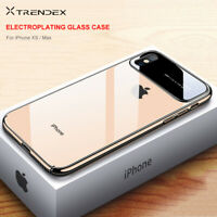 For iPhone Xs Max XR 7 8 Plus Luxury Slim Hybrid Shockproof PC+Glass Case Cover