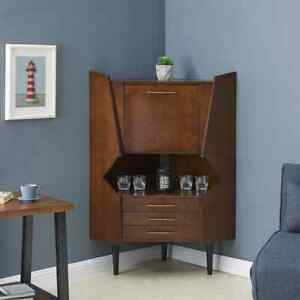 Corner Bar Liquor Bar Cabinet Vintage Storage Wood Mirrored Back 3 Drawers New