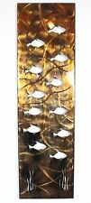 Metal Wall Art Canvas Swimming School of Fish  Metal Art