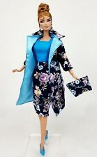 Blue Dress Outfit Gown Coat FoR Silkstone Barbie Fashion Royalty Vintage Repro