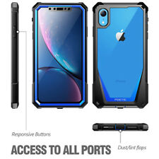 Poetic Guardian Rugged Clear Hybrid Bumper Blue Case For Apple iPhone XR