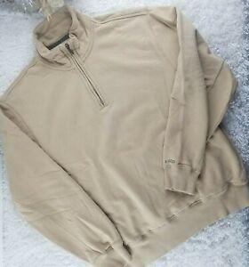IZOD beige quarter zip sweatshirt SIZE M soft winter pullover (Q)