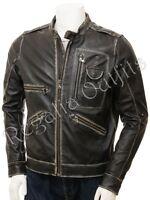 Mens Black Rub Off Distressed Motorcycle Biker Cafe Racer Real Leather Jacket