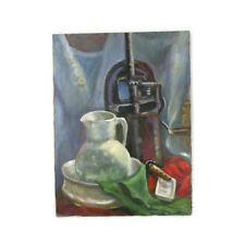 Vintage Wash Room Scene Wash Basin Still Life Unframed Oil Painting 18x24