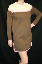 M~L Cream Pink Brown Wool Vtg 60s MOD GoGo White Stag Sweater MINI Dress