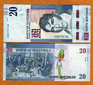 Guatemala, 20 Quetzales, 2021, P-New UNC > Commemorative, 200 years independence