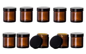 10x Braunglas Tiegel 60ml Kosmetik Salbentiegel Apotheker Gläser Cremedosen leer