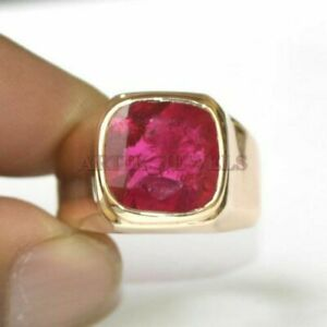 Natural Ruby Gemstone with Gold Plated 925 Sterling Silver Ring for Men's #1555
