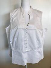 DIALOGUE QVC White Sleeveless Peplum Top 2X NWT New Shirt