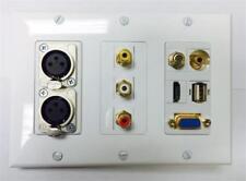 CERTICABLE WHITE WALL PLATE 3-RCA 1-HDMI 1-VGA 1-3.5mm 1-USB 1-COAX 2-XLR PORTS