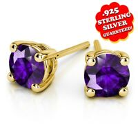 1 Ct Round Amethyst 14k Yellow Gold Over Sterling Silver Stud Earrings
