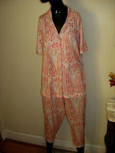 NWT Echo Size 2X Paisley Print Cropped Pajama Set