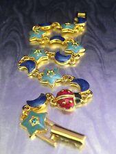 Joan Rivers Classic Celestial Enamel Link Bracelet Ladybug Star Moon Gold Plate