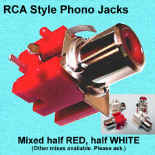 (100) RCA-Style Phono / Audio JACKS, PCB mount, 50 red & 50 white, or other mix