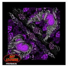 Hot Leathers Ladies Banner Heart Live Love Ride Badana Black/Purple BAB1062