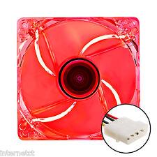 NEW Silent 4 Pin Molex 120MM LED ROSSO SLIM PC VENTOLA 12CM - 1000 RPM Raffreddamento Case