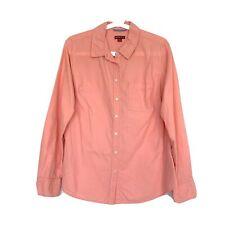 Merona Shirt Womens Size Medium Pink Oxford Button Down Long Sleeve