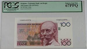 (1978-81) Belgium 100 Francs Note SCWPM# 140a PCGS 67 PPQ Superb Gem New
