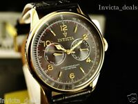 Invicta Men's Vintage Taupe Sunray DL Gold Tone Genuine Black Calf Leather Watch