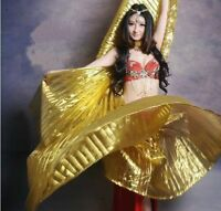 NEW Elegant Gold Iridescent Isis Wings with Holding Stick Belly Dancing Costume