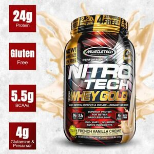 MuscleTech Nitro Tech Whey Gold Protein 2.2 lb Bonus Size, FRENCH VANILLA  CREME