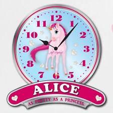 Personalizzata Ragazze Orologio, Rosa Unicorno Orologio. Ragazze Orologio Camera da letto, Rosa Orologio