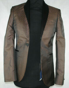 "Kids Suit Jacket Brown Pattern Suit Blazer Skinny Fit NEXT £80 32""s Chest"